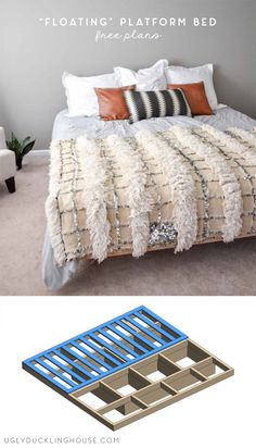 DIY floating Platform King Bed - this bed gives the illusion that it's floating but is fully supported below. Get the free build plans. #woodworking #build #bed #kingbed #diy