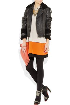 I love this whole look - Diane Von Furstenberg dress, Burberry Brit jacket, Alexander Wang Shoes, Wolford tights, Valentino bag. Money grows on trees, right?  I think I heard that once...