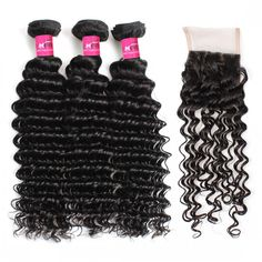 """""""Brazilian Hair Sew In  3 Bundles Deep Wave Hair With 4*4 Lace Closure Brazilian Hair Wholesale Deep Wave Hair Human Hair Extensions Remy Hair Weft Products #hairextensions #brazilianhair"""""""