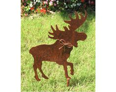 Moose Metal Garden Stake - Metal Yard Art - Metal Garden Art - Rustic - Rusty by georgiametalart on Etsy https://www.etsy.com/listing/160895746/moose-metal-garden-stake-metal-yard-art