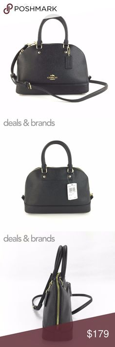 """NWT COACH Mini Sierra Crossgrain Leather Satchel COACH MINI SIERRA CROSSGRAIN LEATHER SATCHEL BAG F57555 in BLACK ITEM NO: F57555 RETAIL PRICE: $295.00 COLOR: Black CONDITION: NEW with TAGS  Crossgrain leather Gold hardware Inside zip and multifunction pockets Zip closure, fabric lining Handles with 3 1/2"""" drop Outside slip pocket Detachable strap with 21 1/2"""" for shoulder or crossbody wear 10 1/4"""" (L) x 7"""" (H) x 4"""" (W) Coach Bags Satchels"""