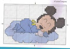 Cross Stitch Baby, Cross Stitch Charts, Cross Stitch Embroidery, Disney Cross Stitch Patterns, Cross Stitch Designs, Mickey Mouse Characters, Charts And Graphs, Baby Disney, Kids Rugs