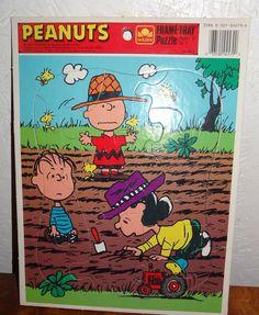 Vintage Peanuts  Frame Tray Puzzle 1965 4575B-3  Golden Garden USA #Golden