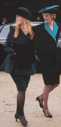 December 25, 1988: Princess Diana and Sarah, the Duchess of York attending Christmas morning service at Sandringham.