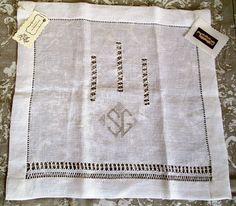 Door curtain embroidered, Linen curtain monogrammed, OAK linen curtain
