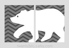Bear Chevron Diptych Set of 2 Giclée Prints, Perfect for a Little Boy's room, You Choose the Colors. $30.00, via Etsy.
