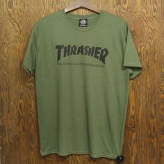 458bcd30197a Thrasher Skate Mag Tee (Army Green) T-SHIRTS ❤ liked on Polyvore featuring  tops