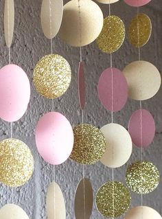 Garland in Cream Blush and Gold Double-Sided Bridal Shower Baby Shower Birthday Decor Pink Gold Birthday Pink Gold Party Pink Gold Party, Pink Gold Birthday, Pink Und Gold, Blush And Gold, Birthday Party Decorations, Baby Shower Decorations, Birthday Parties, Girl First Birthday, Baby Birthday
