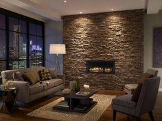 sofa grau wohnzimmer industriell offener wohnplan steinwand ... - Steinwand