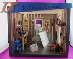 Dollhouse Miniature Garage/Fixit Shop Roombox #Handcrafted