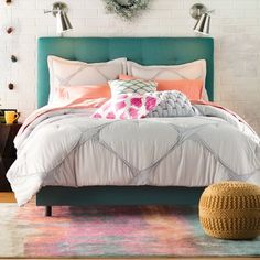 Mercury Row Leilani Upholstered Panel Bed with Mattress Size: My New Room, My Room, Bedroom Colors, Bedroom Decor, Bedroom Ideas, Upholstered Platform Bed, Panel Bed, How To Make Bed, Bed Sizes