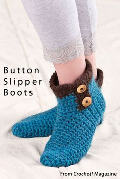 Button Slipper Boots from the Winter 2013 issue of Crochet! Magazine. Order a digital copy here: http://www.anniescatalog.com/detail.html?code=AM22153
