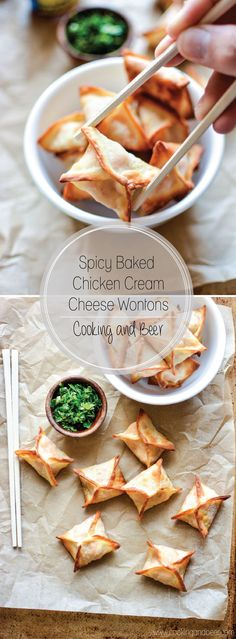 Spicy Baked Chicken Cream Cheese Wontons are a simple and delicious appetizer that needs to grace the menu of your next game day spread!