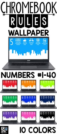 Google Chromebook Wallpaper with rules displayed. Hold students accountable for Google Chromebook rules every time they sign in to their Google Chromebook. Organize 1:1 student Chromebooks or Chromebooks in a shared cart with coordinating numbered background images - numbers #1-40 included. Direction sheets for students to follow to upload and set the images independently! Use that valuable Chromebook background space with these Chromebook wallpapers specially designed for the classroom.