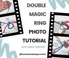 Double Magic Ring Photo Tutorial and Video Tutorial Crochet Angel Pattern, Crochet Patterns, Crochet Stitches, Poncho Patterns, Crochet Angels, Crochet Tutorials, Crochet Ideas, Crochet Projects, Crochet Round