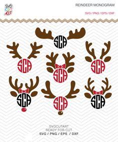 Reindeer Monogram svg Frame DXF SVG PNG eps Vinyl winter christmas deer decal Cricut Design, Silhouette studio, Instant Download by SvgCutArt on Etsy