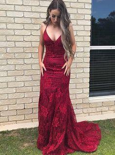Mermaid Dark Red Lace Prom Dress  lacepromdress  cheapdress  longpromdress   mermaidpromdress Mermaid Prom 6059e4b8c66c