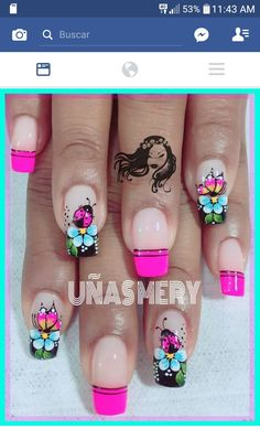 Uñas Cute Nail Art, Easy Nail Art, Toe Nail Color, Nail Colors, Pretty Nails, Fun Nails, Sugar Skull Nails, Funky Fingers, Daisy Nails