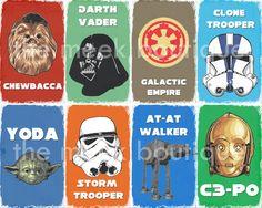 Star Wars Digital Art Printable, Nursery, Play Room, Boys Room, No. 14. $5.00, via Etsy.