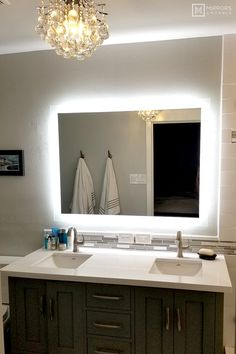 Side-Lighted LED Bathroom Vanity Mirror: 48 x 36 - Rectangular - Wall-Mounted 556968678912646849 Backlit Mirror, Lighted Vanity Mirror, Mirror With Lights, Vanity Mirrors, Bathroom Light Fixtures, Bathroom Vanity Lighting, Mirror Bathroom, Master Bathroom, Bathroom Wallpaper