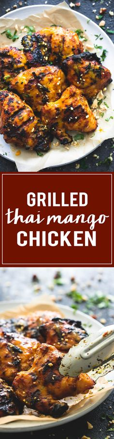 Easy marinated grilled thai mango chicken with a simple, sticky sweet and tangy coconut curry and mango sauce to die for.