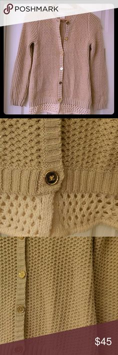 Cardigan sweater Super cute tan with gold thread going through, gold buttons and crochet off white bottom. Like new condition. Camilla Sweaters Cardigans
