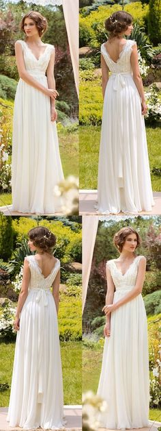 Simple Wedding Dresses V-neck Floor-length Chiffon Sexy Lace... annapromdress.com #SimpleWeddingIdeas