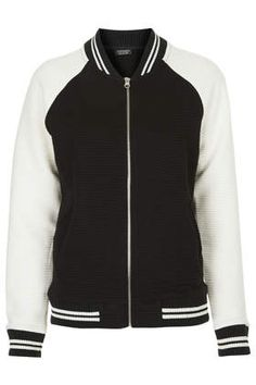 Striped Rib Jersey Bomber Jacket Top Shop $85.00
