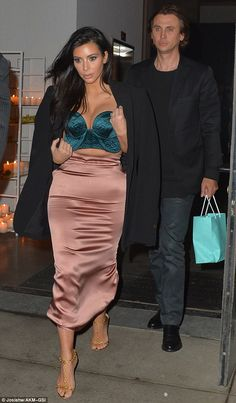 She wasn't about to forget her goodie bag!: Kim was seen leaving the event with best friend Jonathan Cheban, who carried some gifts from Tiffany & Co. Jonathan Cheban, Kardashian Style, Celebs, Celebrities, Silk Satin, Sexy Bikini, Style Icons, Besties, Modeling Poses