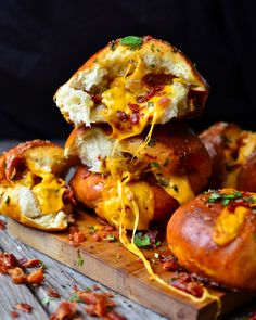 Yammie's Noshery: Cheddar Bacon Stuffed Pretzel Buns. They puff up giant (softball sized). Easy + Amazing.