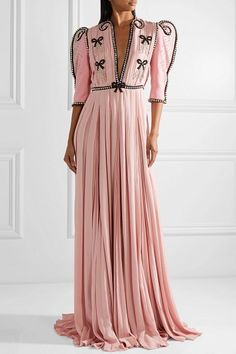 808ce9cd Gucci Swarovski Crystal-Embellished Wool And Silk-Blend And Plissé-Chiffon  Gown