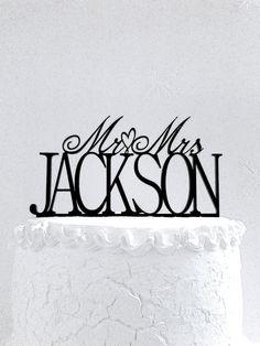 Mr and Mrs Jackson Wedding Cake Topper by CakeTopperDesign on Etsy