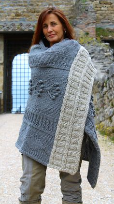 Pure New Wool Grey 'Tree of Life'  Wrap, Shawl, Poncho - 100% Italian Wool