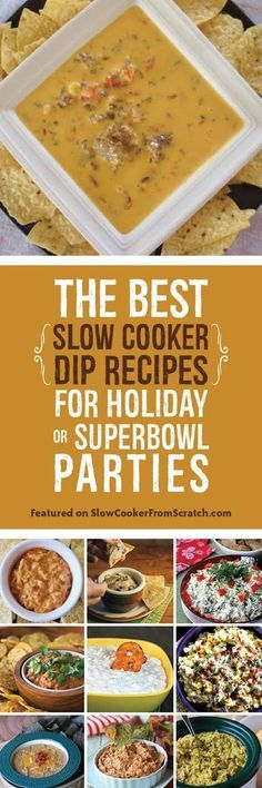 The Best Slow Cooker Dip Recipes for Holiday or Superbowl Parties; these are the best dips I could find from some of the best food blogs on the web!  [found on http://SlowcookerFromScratch.com]