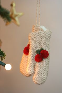 Cherry mittens ornament