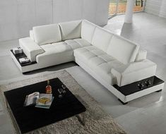 Marvelous Stunning L-shaped Sofa Design Ideas Make Your Living Room Comfortable Do you need a comfortable sofa for your living room? What if deacor recommends an L-shaped sofa? Buy a comfortable sofa to be used by you, your family. White Leather Sofas, Leather Corner Sofa, Best Leather Sofa, White Sofas, Real Leather, White Sectional Sofa, Leather Sectional Sofas, Sofa Couch, Modern Sectional