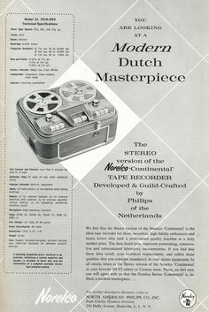 1959 ad for the Norelco Continental reel to reel tape recorder in Reel2ReelTexas.com's vintage recording collection