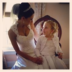 Bride with flower girl picture