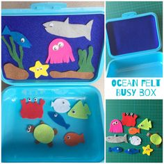 Make this fun Ocean themed busy box from a lunch box and a few scraps of felt!