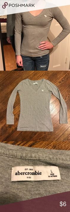 Abercrombie Kids Grey V-Neck Tee, Girls L Excellent Condition. No imperfections. abercrombie kids Shirts & Tops Tees - Long Sleeve