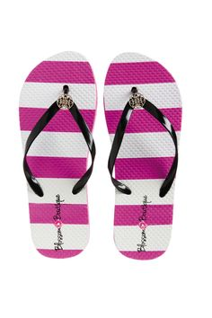 Classically Chic Striped Flip Flops