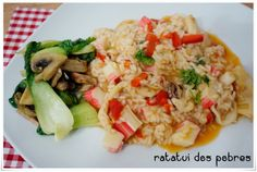 ratatui dos pobres: Arroz de chocos, camarão e delícias do mar c/ pak choi e cogumelos