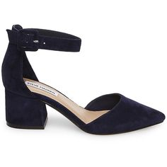 Steve Madden Women's Dainna Pumps ($90) ❤ liked on Polyvore featuring shoes, pumps, navy sde, d'orsay pumps, block heel pumps, navy pumps, steve-madden shoes and steve madden pumps
