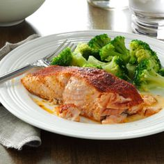 """Oven-Barbecued Salmon- Really good. Tim's not a big fish fan and said """"this is wonderful!"""" - LB"""