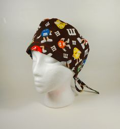 Unisex/Men's M & M Guys on Brown Novelty Tie Back Surgical Scrub Cap by FoodFunScrubHats on Etsy