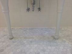 girls bath: carrara hexagon floor tiles paired with white subway wall tiles