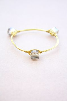 Grey Crystal Square Beads Wire Wrapped Bangle di SDMbangles, €10.00