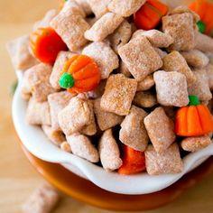 Pumpkin Spice Puppy Chow Recipe Desserts with Chex Cereal, candy, ground cinnamon, ground nutmeg, ground cloves, allspice, confectioners sugar, pumpkin