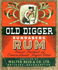 Old Digger Bundaberg Rum label (Queensland Australia)