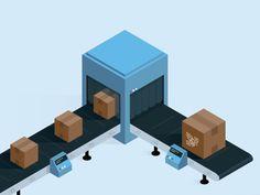 Conveyor belt 2 by Sebastián Falasca for Aerolab Conveyor System, Conveyor Belt, Technical Illustration, Flat Illustration, Maker Fun Factory Vbs, Isometric Design, Graduation Project, Animated Cartoons, Game Design